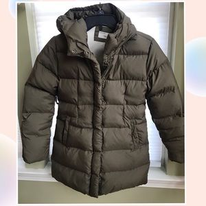 Crewcuts girls down coat olive color size 12